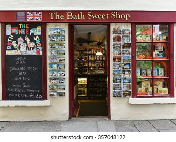 BATH, UK - OCT 18, 2015: View of the exterior of a sweet or candy store on a city centre street. The famous Unesco World Heritage city in Somerset receives around 4 million visitors each year.