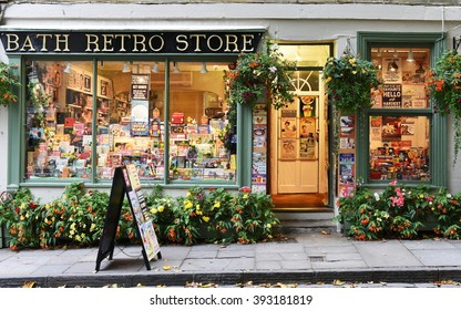 BATH, UK - OCT 18, 2015:View of a retro store on a city centre street. The Unesco World Heritage city in Somerset is famous for it shopping, attracting around 4 million visitors a year.