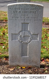 Bath, UK: October 02, 2018: commonwealth war graves commission Grave at Haycombe Cemetery, Bath, UK