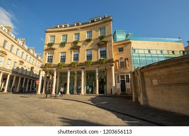 Bath, UK: October 09, 2018: Thermae Bath Spa,  Hot Bath St, Bath
