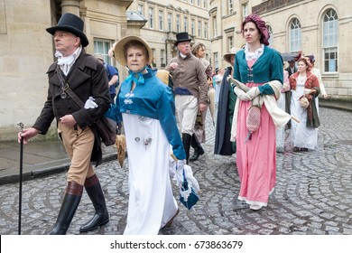 BATH, UK - SEPTEMBER 10, 2016: Jane Austen fans dressed in 18th Century costume are pictured taking part in the world famous Grand Regency Costumed Promenade.