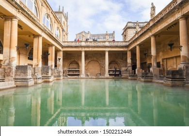 Bath, United Kingdom - November 2, 2017: Tourists are in Roman baths of Bath, Somerset. One of the most popular landmarks of the city
