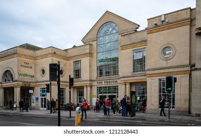 Bath, United Kingdom - October 13 2018:   The Podium shopping centre including Waitrose supermarket and the central library on Nothgate St
