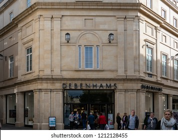 Bath, United Kingdom - October 13 2018:   The Front of Debenhams department store on St Lawrence Street