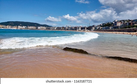 bathers on the beach of San Sebastian