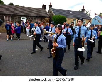 Bathgate, West Lothian, Scotland, UK, 1st June 2019 - Royal Air Force cadet band march in Bathgate
