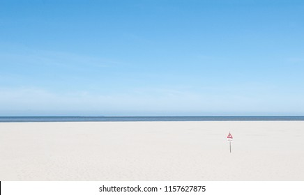 bathing beach without people - North Sea in Holland (Netherlands) - Texel