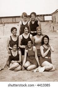 Bathing beauties - circa 1919 vintage photo