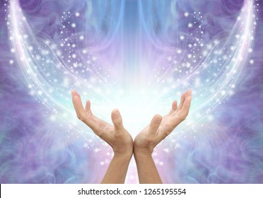 Bathing in Beautiful Healing Resonance  - female cupped hands reaching up into an arc of shimmering sparkles on a glowing purple blue ethereal energy formation background with copy space