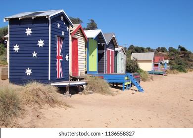 Bathing box beach house in the late afternoon sun, Mornington Australia 2018