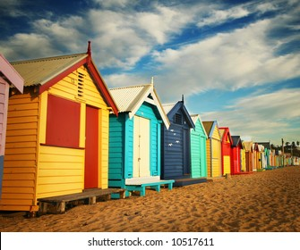 Bathing boxes at Brighton beach, Melbourne Australia