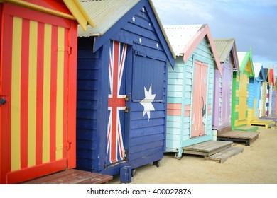 Bathing boxes on Brighton beach in Melbourne, Australia