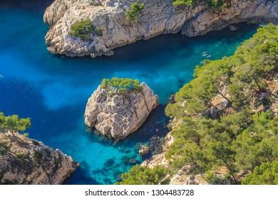 Bathing in the Calanque de Sugiton, Marseilles, France