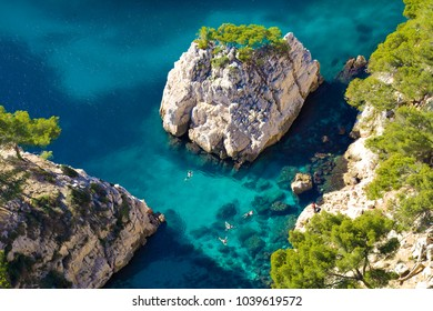 Bathing in the calanque, Marseille, France