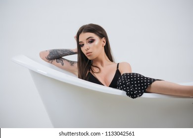 Bathing concept. Sensual woman enjoy bathing. Woman relax during bathing. Bathing and wellbeing. Total relaxation.