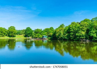 A bathing pond in Hampstead Heath park in north-west London. UK