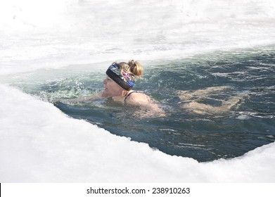Bathing in the sea in winter hole, Vladivostok, Primorye