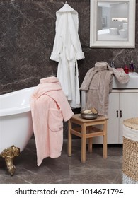Bathrobe  hanging bathroom