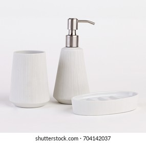 Bathroom accessories isolated on white background