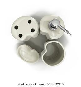 Bathroom accessories on white 3D Illustration
