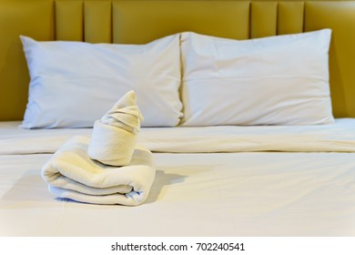 bathroom accessories preparation on the bed in a room of hotel or apartment. well and nice preparation of bath facilities for hotel services. set of bath services on the bed in hotel.