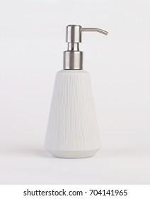 Bathroom accessory, soap bottle isolated on white background