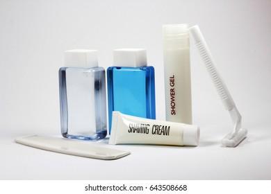 Bathroom amenities, include a comb and razor