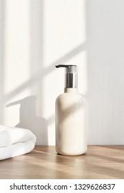 Bathroom amenities, shampoo mock-up product.