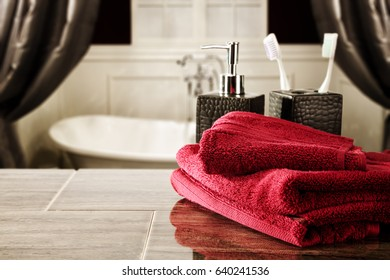 bathroom background of free space for your decoration and towels