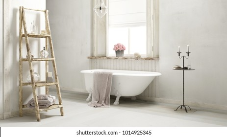 bathroom with bath tub and towels 3d rendering