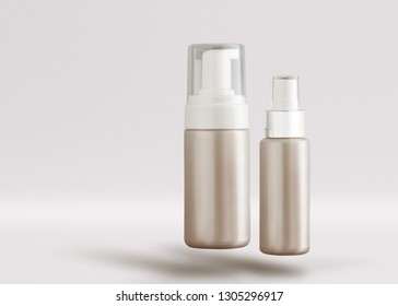 Bathroom and beauty product pump bottle packaging set without label on simple background and copy space for text.