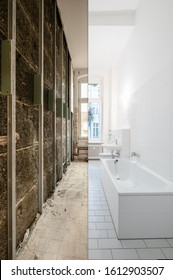 bathroom before and after renovation - home refurbishment concept