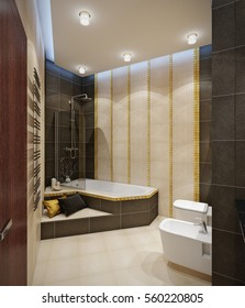 Bathroom with beige tile floor, beige brown wall tile, gold mosaic, large mirror and shower. 3d rendering