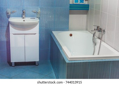 bathroom in blue color