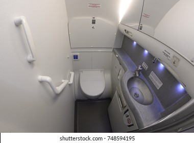 Bathroom of Boeing 737-400. Borispol airport administration's demonstration for mass-media. October 20, 2018. Borispol, Ukraine