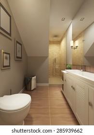 Bathroom Design Provence in orange, olive and white. 3d render.