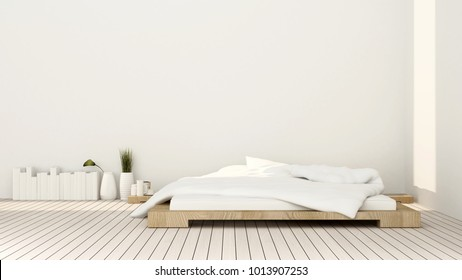 Bathroom and empty space on sunshine day for artwork room in apartment or hotel - Interior simple design - 3D Rendering