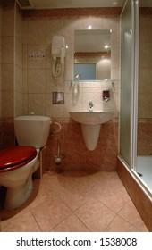 bathroom in European pension motel hotel Prague Czech Republic