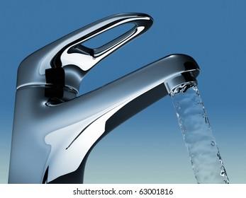 Bathroom faucet flowing water - 3d render illustration