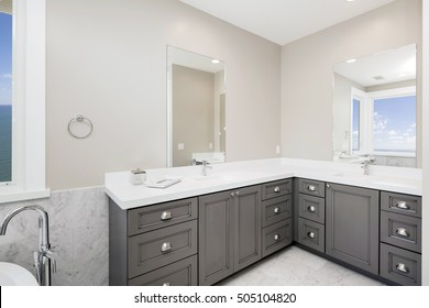 Bathroom furniture with mirrors