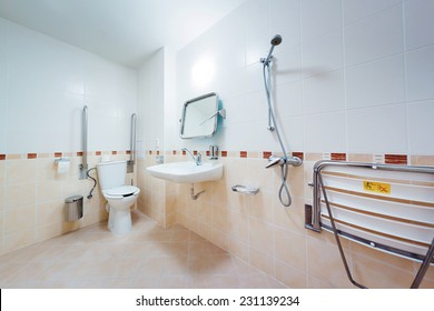 Bathroom with grab bars for people with disabilities