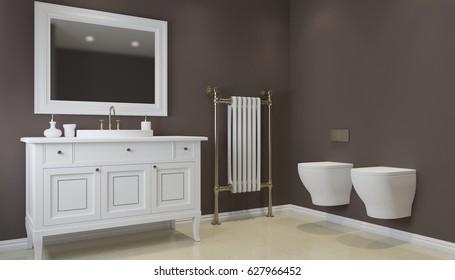 Bathroom in gray tones with heated floors. 3D rendering