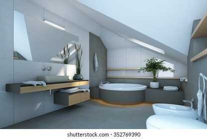 Bathroom in Grey and White Colors 3d Rendering