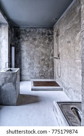 Bathroom at home in loft style with designer renovation.