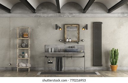 Bathroom in industrial style with stone washbasin - 3d rendering