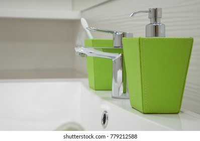 Bathroom interior with accessories for washing