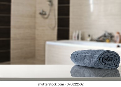 bathroom interior and blue towel
