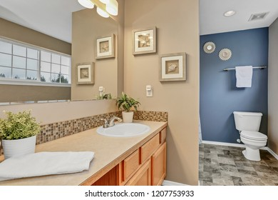 Bathroom interior with large mirror and blue wall.