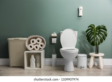 Bathroom interior with new ceramic toilet bowl