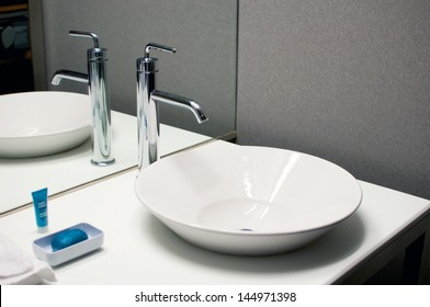 Bathroom interior sink with modern design